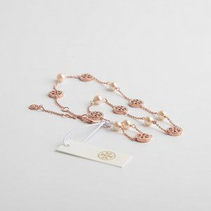 Tory Burch Rose Gold Short Necklace With Diamond